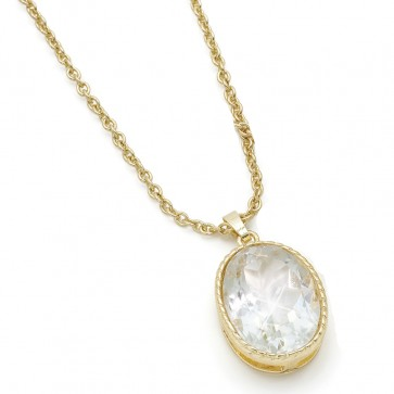 Goldtone Crystal Pendant on Cable Chain