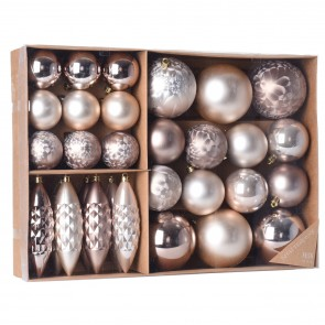 kerstballen set, 31-delig-Rose